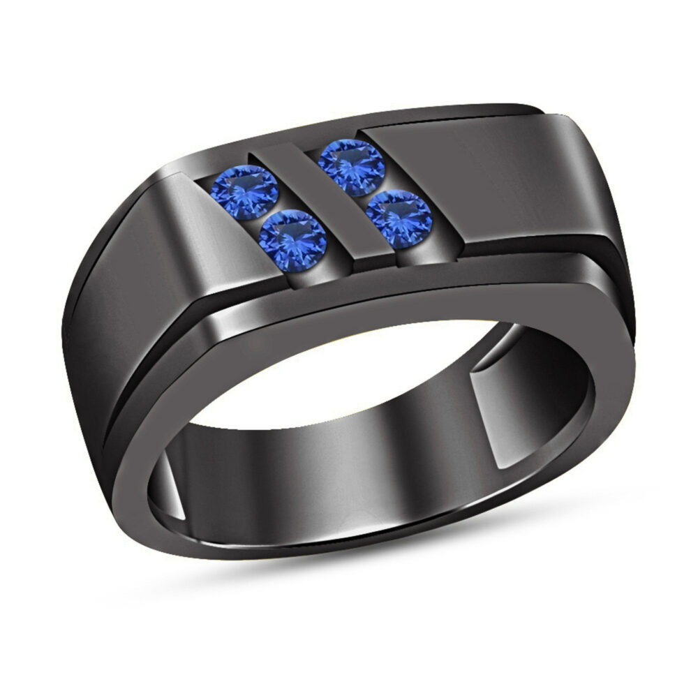 Round Cut Blue Sapphire 10K Black Gold Finish Mens Wedding Band Engagement Ring 925 Silver