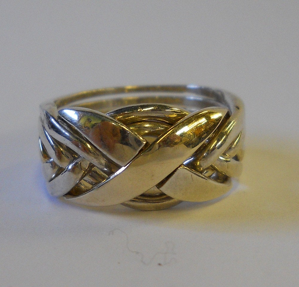 10K Gold & Sterling Silver Mens Six Band Puzzle Ring | 1 Gold, 5 Silver 6Nx