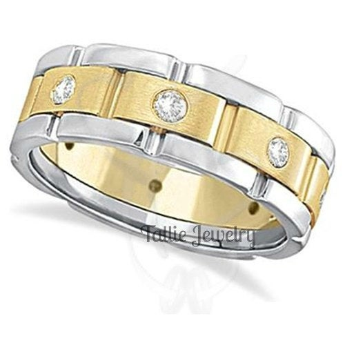 Two Tone Gold Wedding Bands, 7mm 10K 14K 18K Solid White & Yellow Mens Diamond Rings, Bands