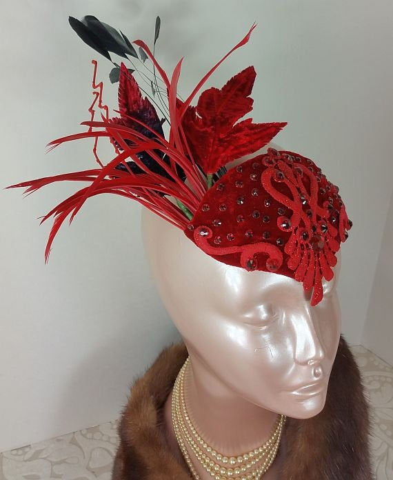 Red Fascinator, Party Hat, Mini Hat, Wedding Fascinator Hat, Derby Hat, Tea Fascinator, Bridal Shower Hat For Party, 1920