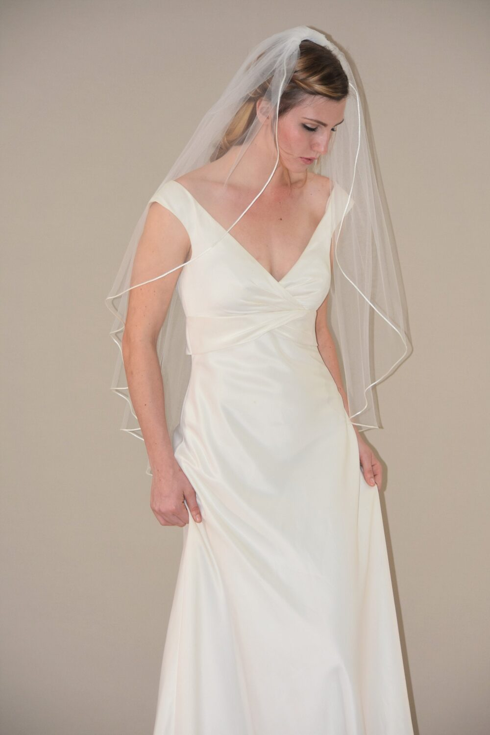 Cascading Fingertip Veil With Satin Cord Edge | Rattail Length Wedding Bridal