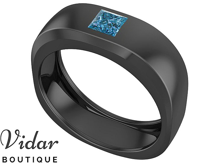 Men Wedding Band, Unique Blue Diamond Princess Cut Ring For Wedding, Men's Ring, Black Gold
