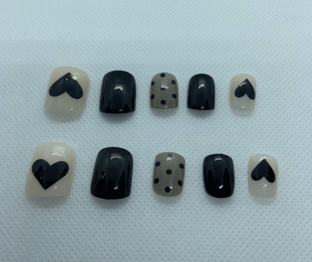 Press On Gel Nail Spa Set/Custom Full Short Version/Black Polka Dot Set/Luxury Black Dotted Set/Girlfriend Gift