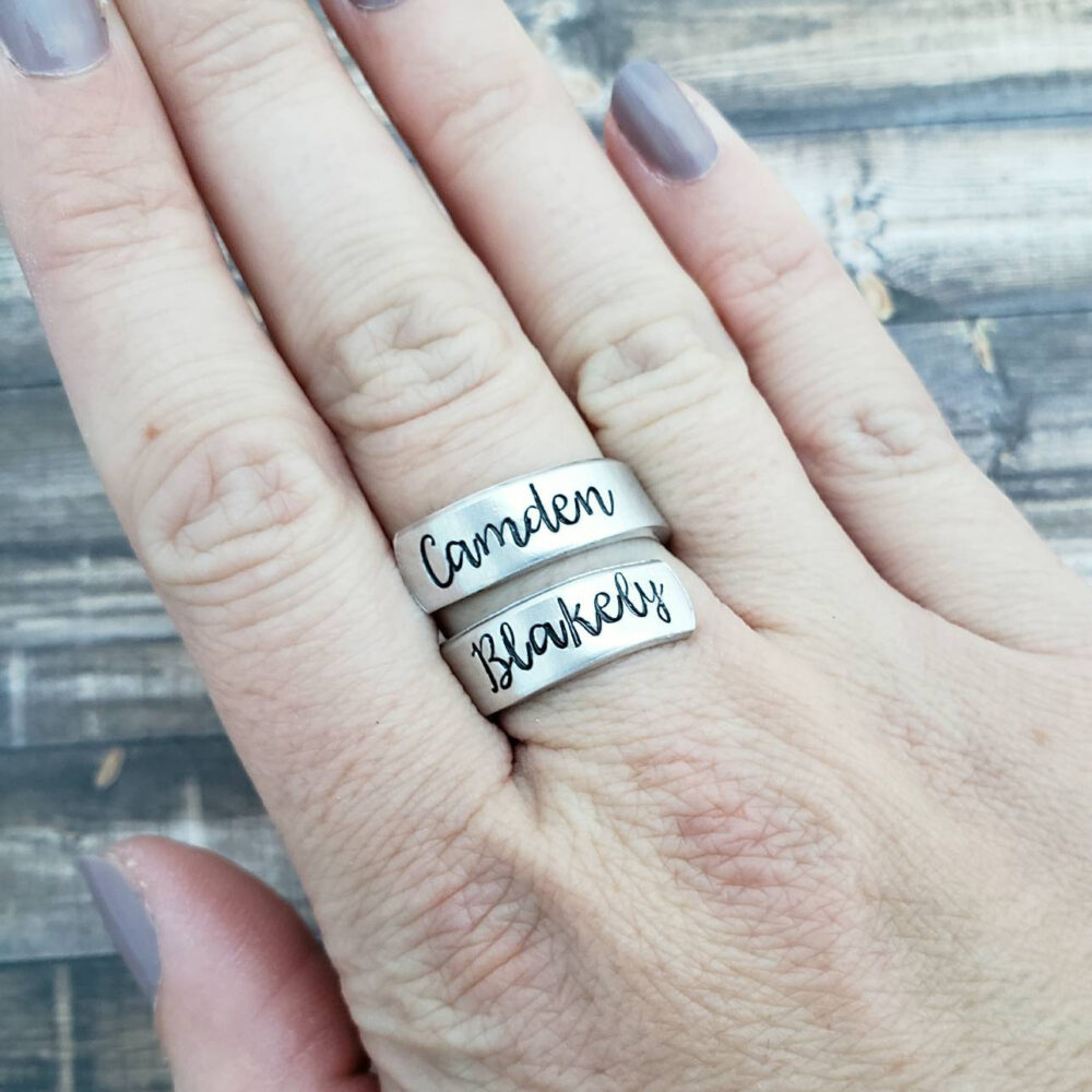 Personalized Name Ring, Hand Stamped Jewelry, Customized Gift For Her, Aluminum Wrap Twist Mom, Mother's Day From Kids