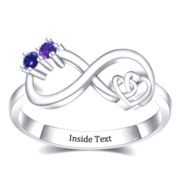 Mothers Ring 2 Stone, Birthstone Rings For Mom, Promise Rings, Mother Daughter