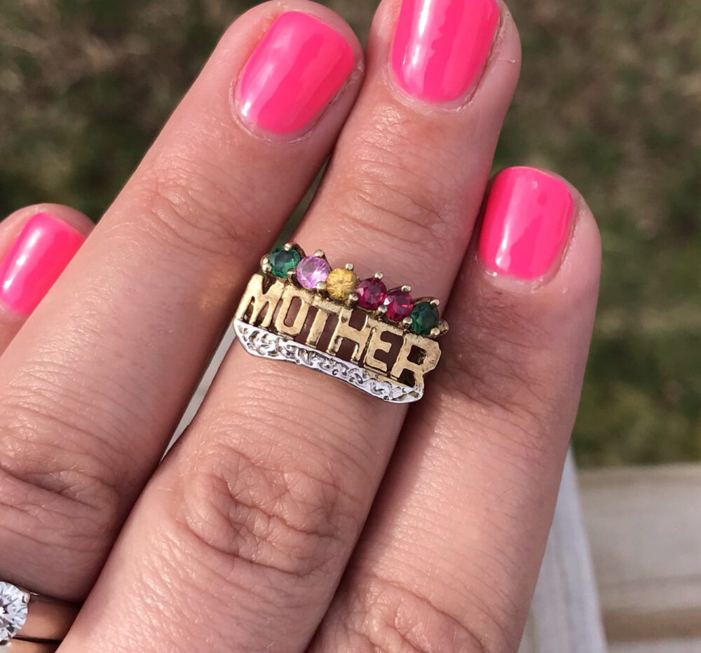 Mother Ring Gold Gemstones New Mom Mothers Day Gift Grandmother Push Present