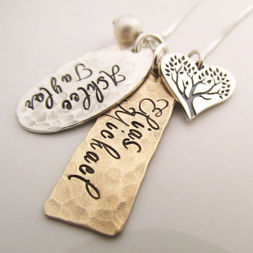 Personalized Necklace - Family Tree Rustic Mother's Custom Family Jewelry Gift For Mom
