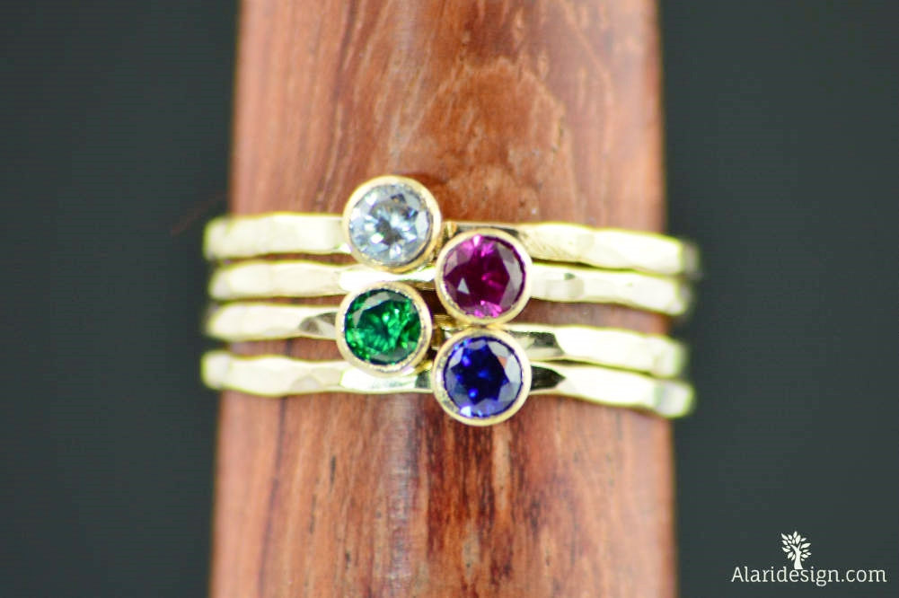 Grab 4 - Dainty Gold Mothers Rings, Rustic Mother's Ring, Jewelry, Gift For Mom, Ring