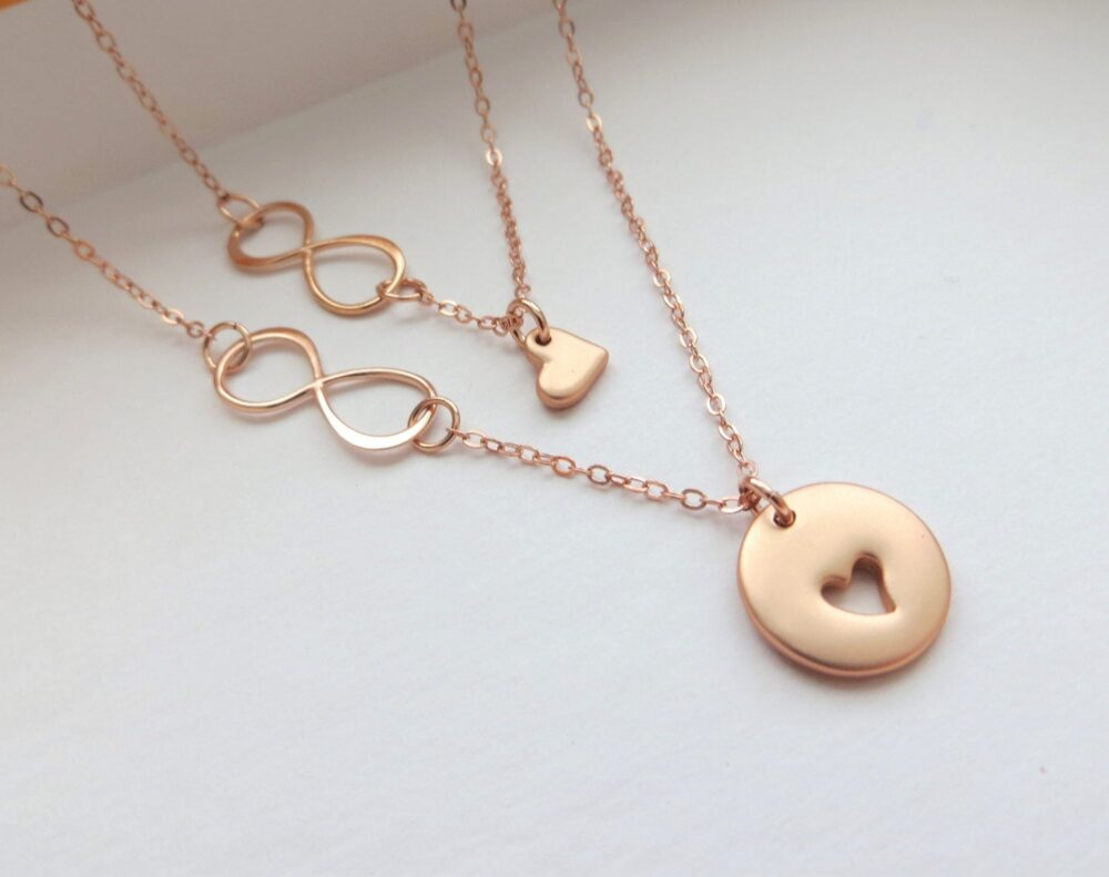 Mothers Day Gifts, Rose Gold Infinity Heart Necklace, Mother Daughter Gift Ideas, Holiday, Mom Jewelry, Popular, Wife