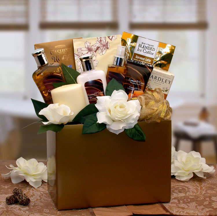 Women's Gift Baskets Spa Basket For Her Caramel Inspirations Box Mother's Day