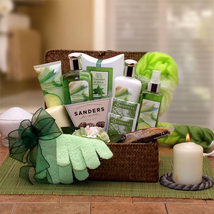 Women's Gift Baskets Spa Basket For Her Serenity Cucumber & Melon Chest Mother's Day