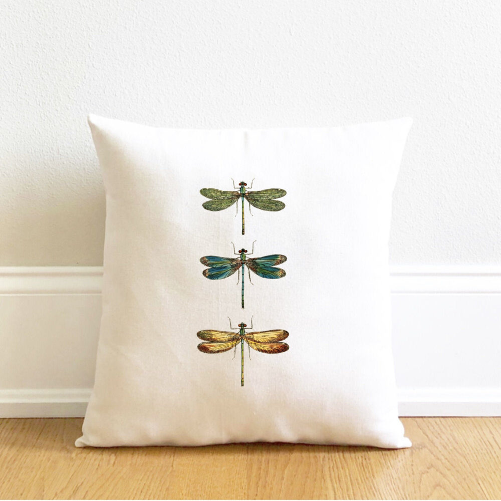 Dragonfly Pillow Cover, Botanical Spring Mother's Day Gift, Rustic Farmhouse, Housewarming Gift