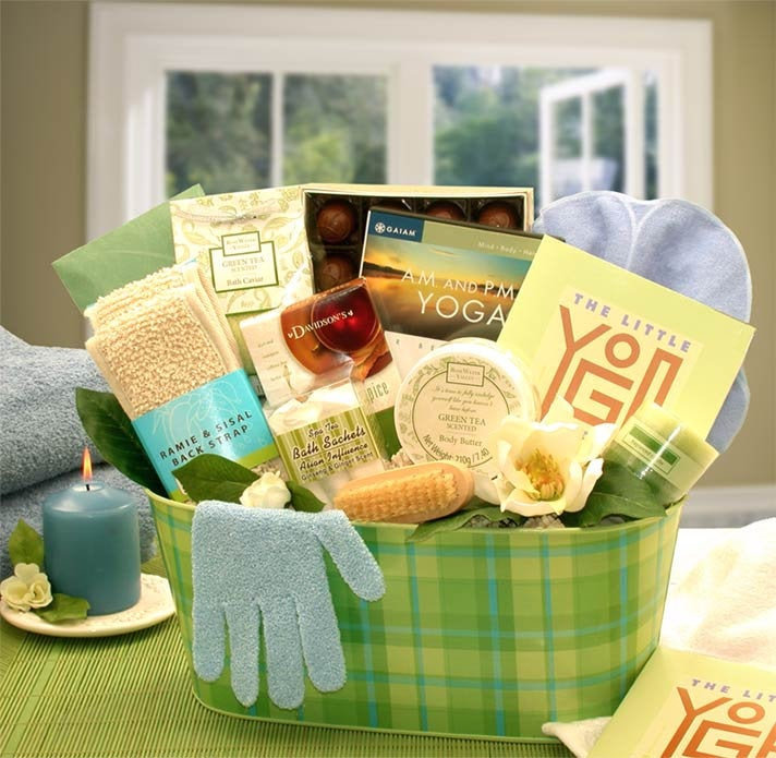 Women's Gift Baskets Spa Basket For Her A Little Yoga & Green Tea Essentials Set Mother's Day