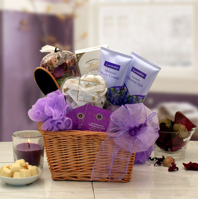 Women's Gift Baskets Spa Basket For Her Lavender Relaxation Set Mother's Day