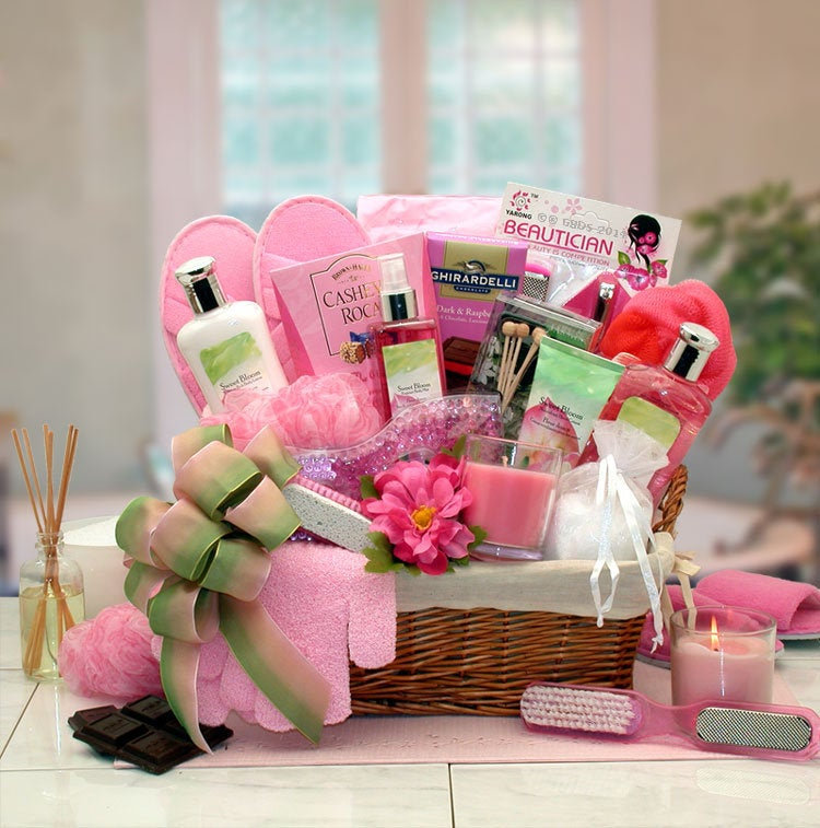 Women's Gift Baskets Spa Basket For Her Sweet Blooms Mother's Day Deluxe Spa Products