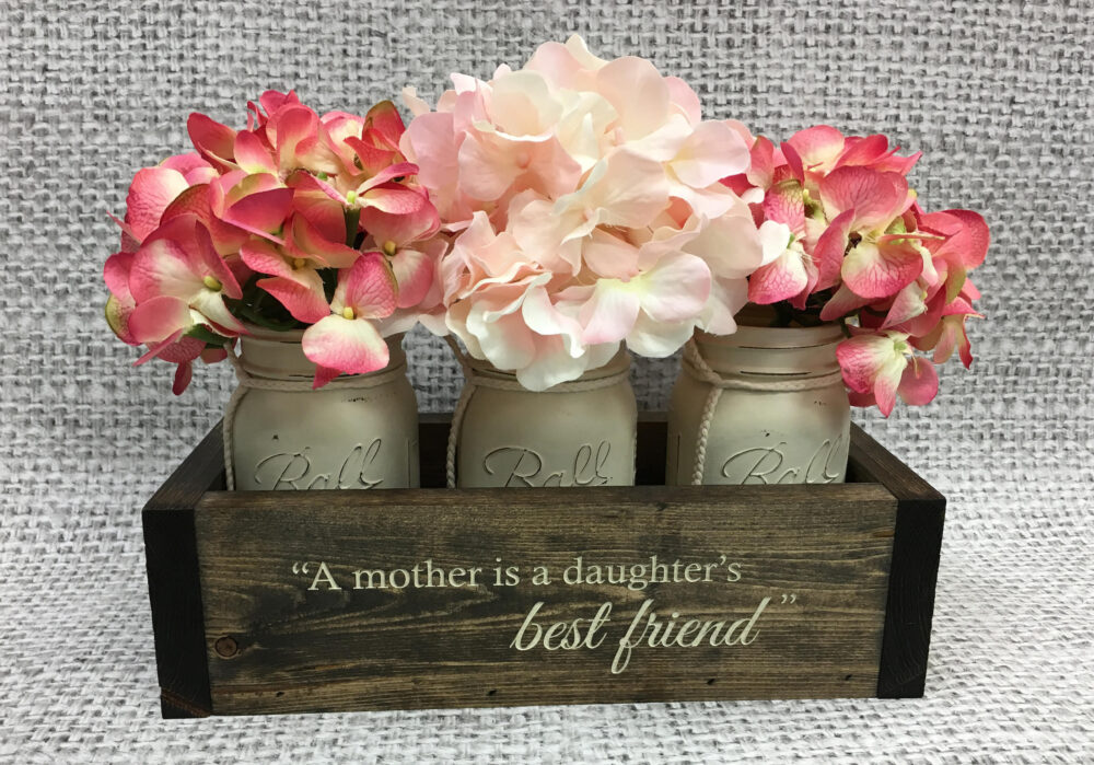 Mother Daughter Gift | Personalized Flower Box Rustic Home Decor For Mom From Mother's Day