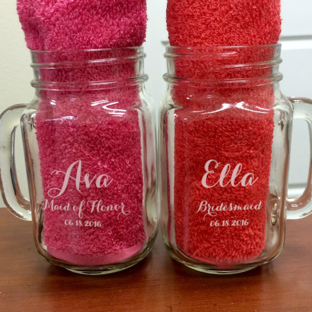 Bridal Shower Favors, Personalized Mason Jars, Wedding Favor, Gift, Jar Favors