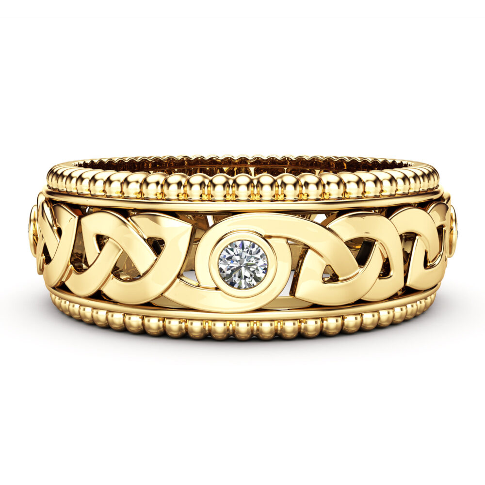 Diamond Wedding Ring 14K Yellow Gold Celtic Band