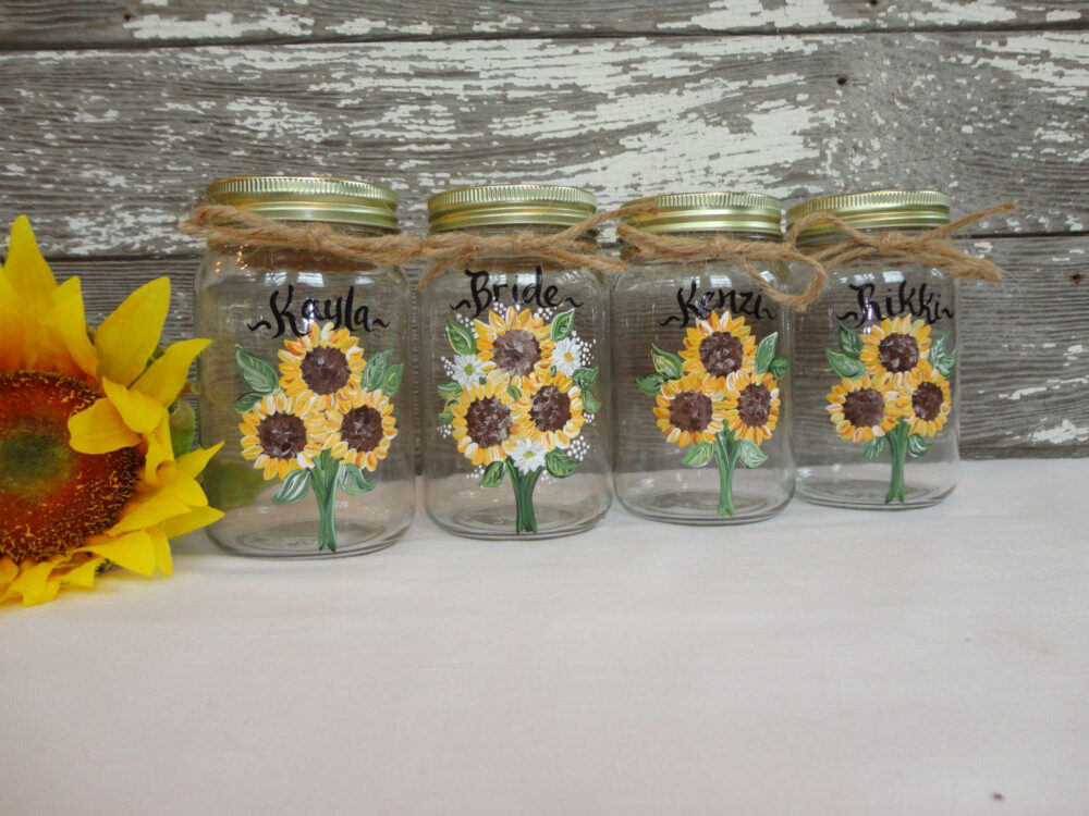 Bridesmaid Mason Jars, Gifts, Sunflower Hand Painted Sunflowers, Rustic Wedding, Personalized