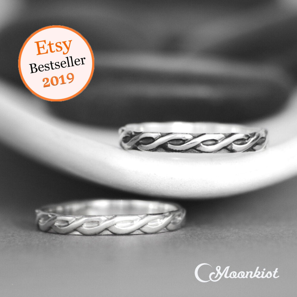 Silver Celtic Band Ring, Womens Wedding Band, Knot Ring | Moonkist Designs