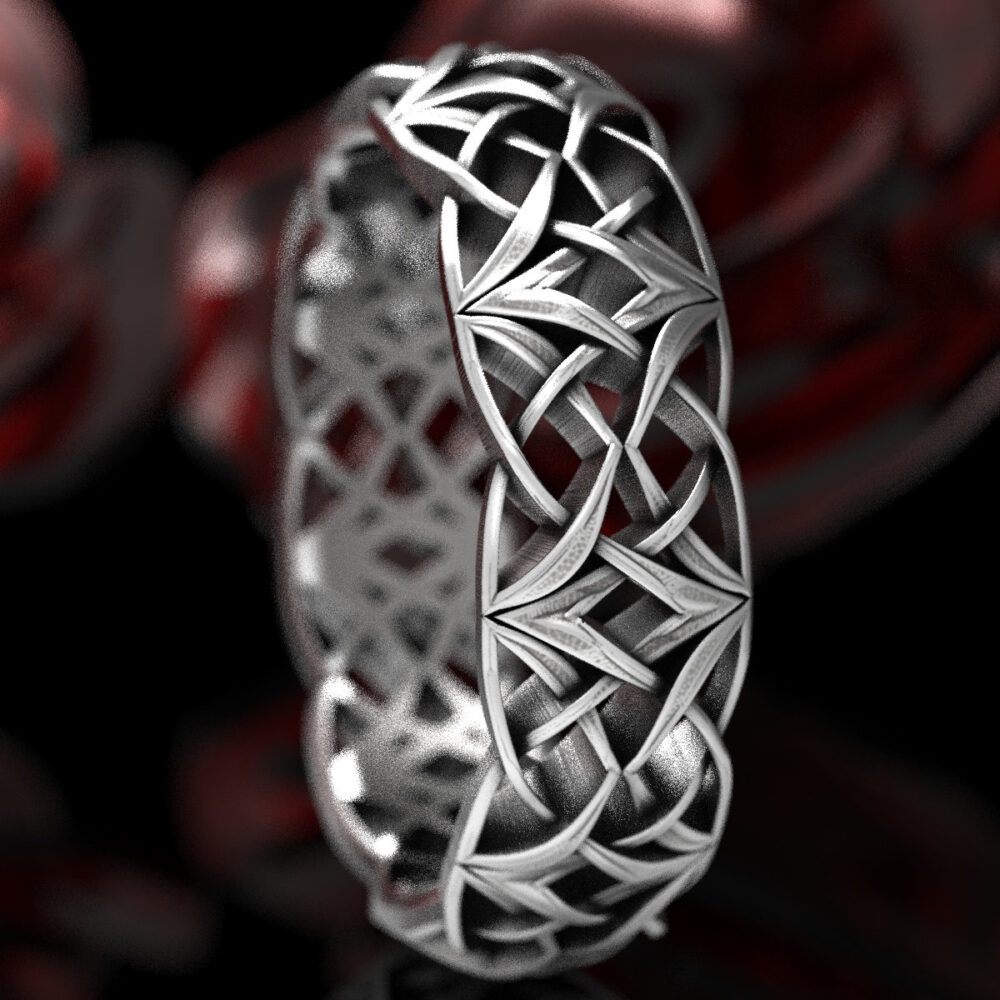 Celtic Silver Love Knot Ring, Woven Wedding Viking Band, Norse Sterling Ring Custom Made 1299
