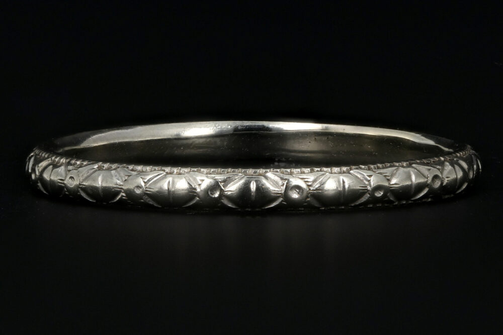 Art Deco 18K White Gold Hand Etched Band