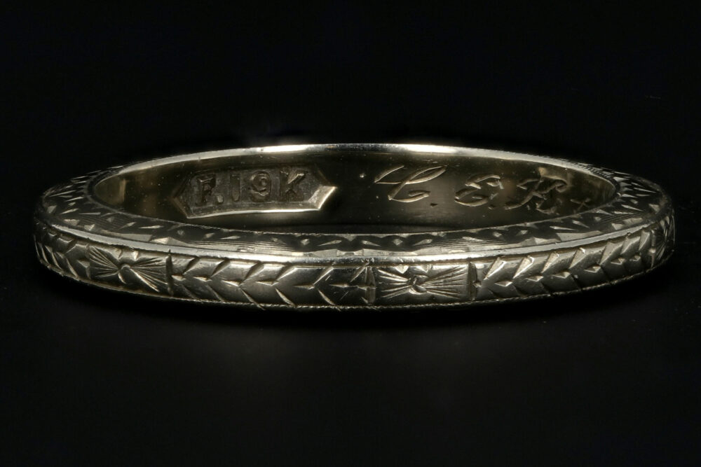 Art Deco 19K White Gold Hand Etched Band