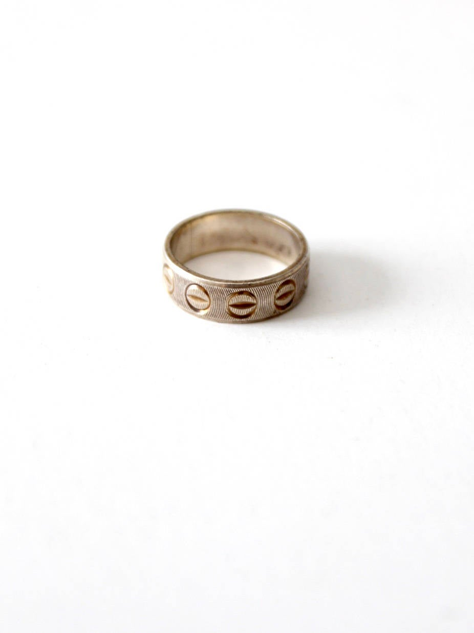 Vintage Sterling Silver Ring, Italy 925 Etched Band