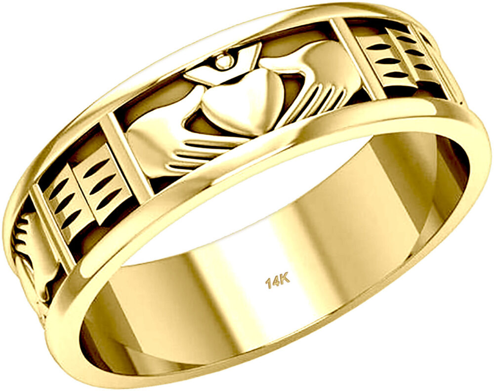 Ladies 10K Or 14K Gold Irish Celtic Claddagh Wedding Ring Band