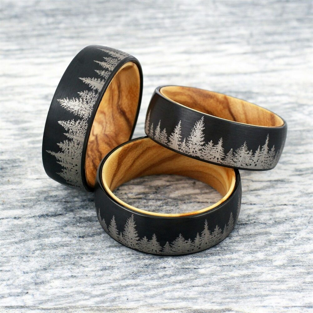 Engraved Wedding Ring, Personalized Engraving, Custom Band, Trees Landscape Etching, Free Interior Engraving, Tungsten Carbide & Oak