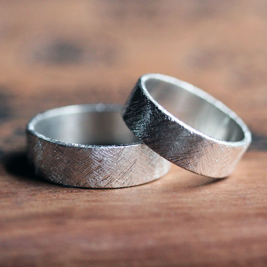 Modern Wedding Ring, Rustic Ring Set, Silver Band Rings, His & His, Hers, Hers Custom
