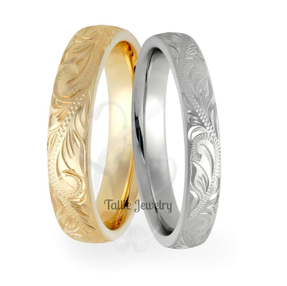 14K Gold Hand Engraved Wedding Bands, Rings, His & Hers Matching Rings Set