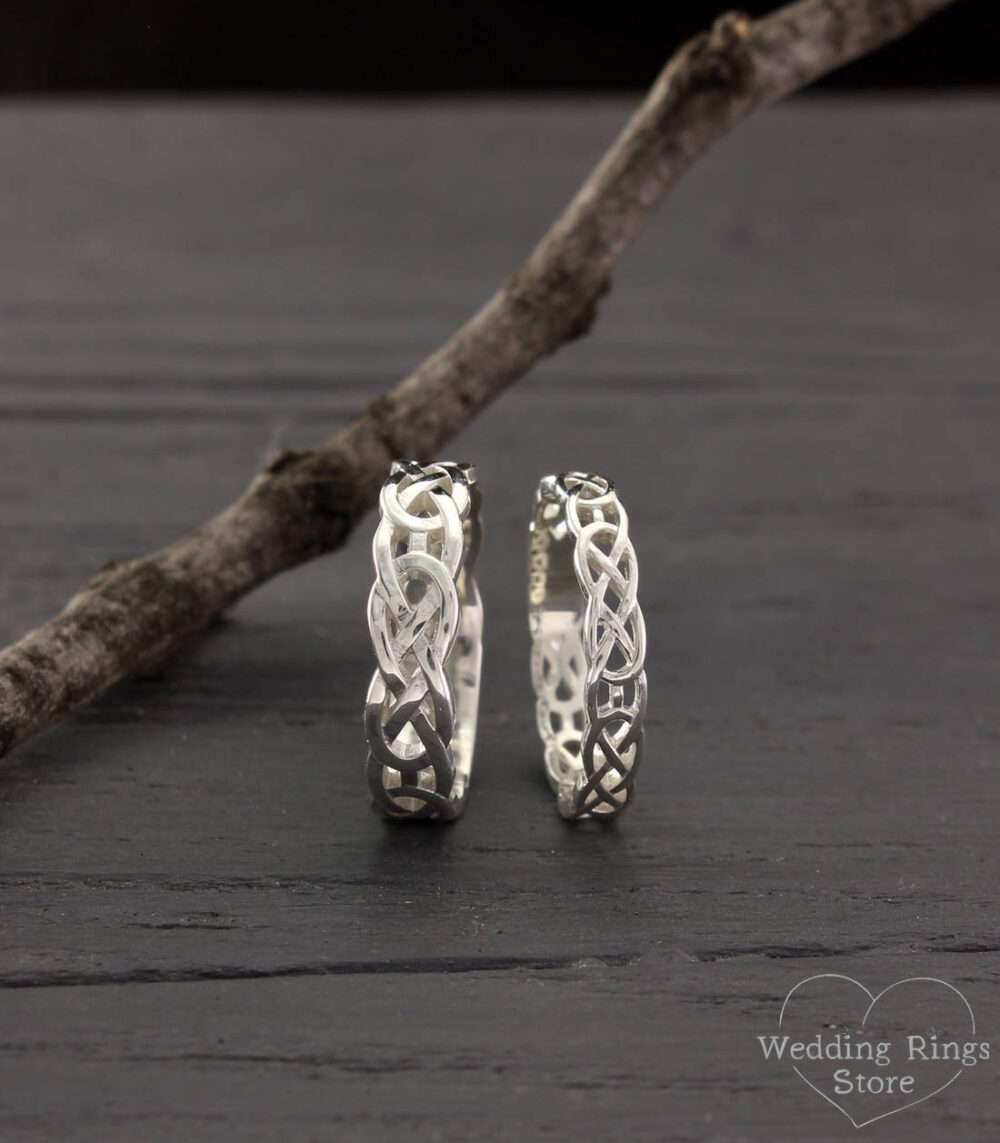 Celtic His & Her Wedding Rings, Bands Set, Couple Silver Silver Bands, Rings His Her, Matching