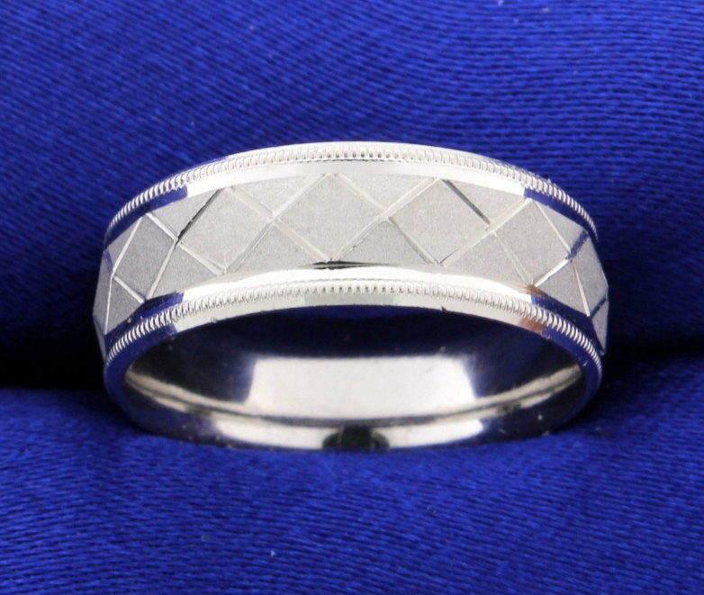 Designer Beaded Edge Geometric Design Wedding Band Ring in Platinum