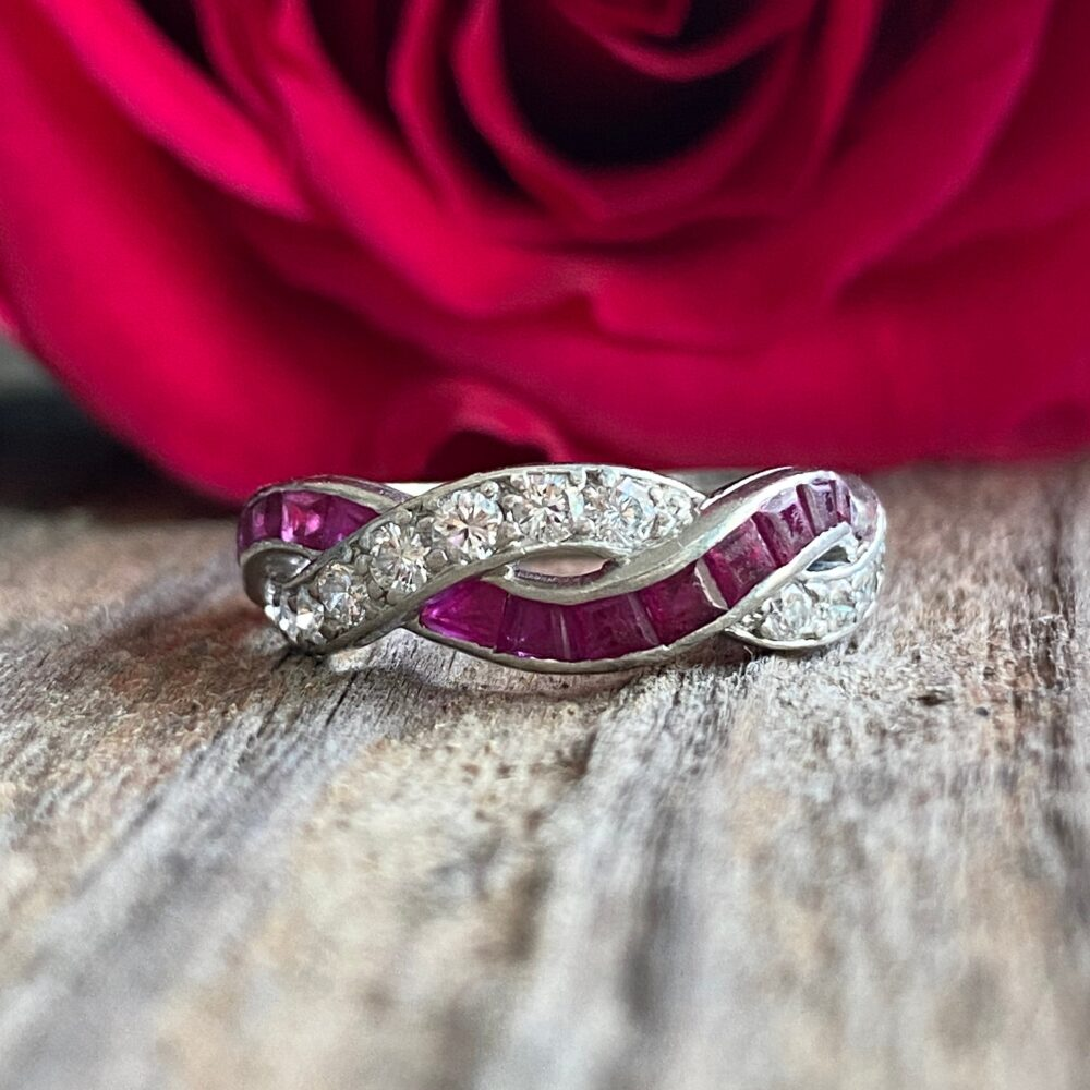 Art Deco Diamond & French Cut Ruby Platinum Ring Band