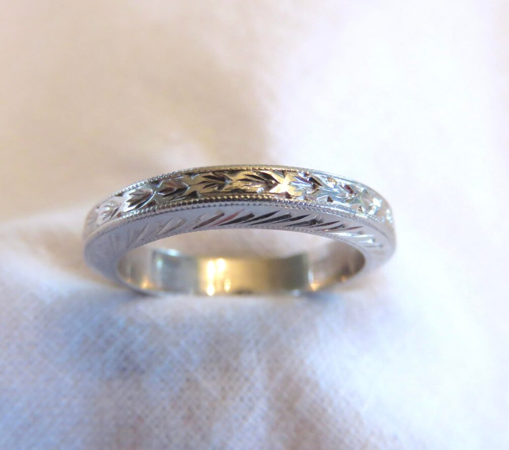 Circa 1920 Engraved Platinum Ring