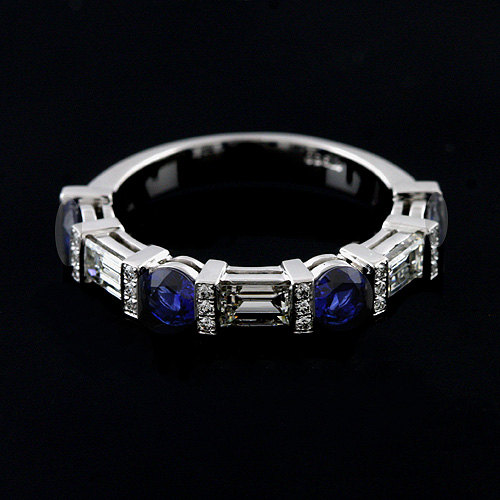 Diamond Baguette Wedding Ring, Blue Sapphire Gemstone Women's Shared Prong Half Way Platinum Ring 3.5mm