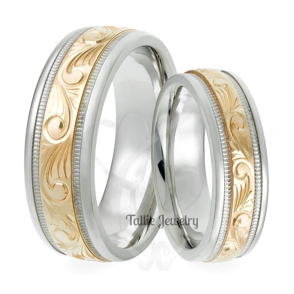 Hand Engraved Wedding Bands, Rings, His & Hers Matching Rings Set, 10K Gold , 14K , 18K