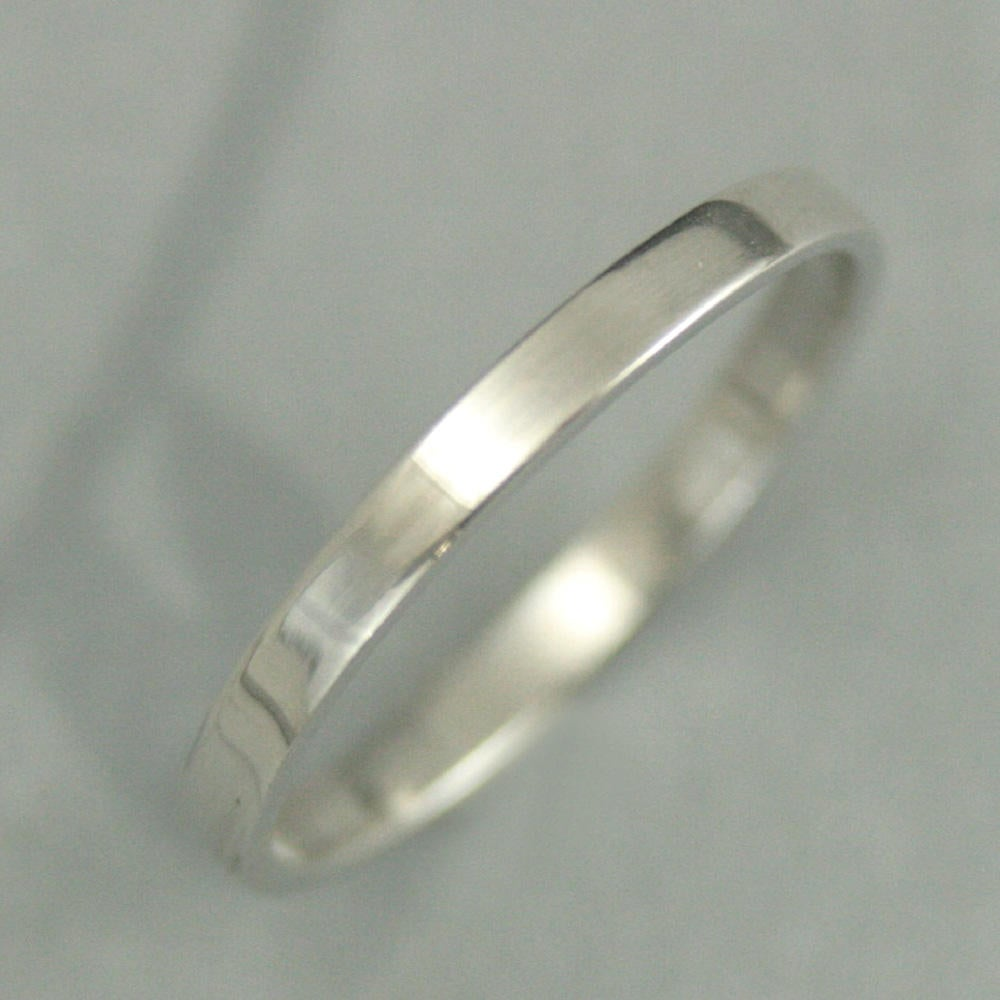 Flat Platinum Band~Flat Ring~Pipe Edge Band~Pipe Ring~Women's Band~2mm Straight & Narrow
