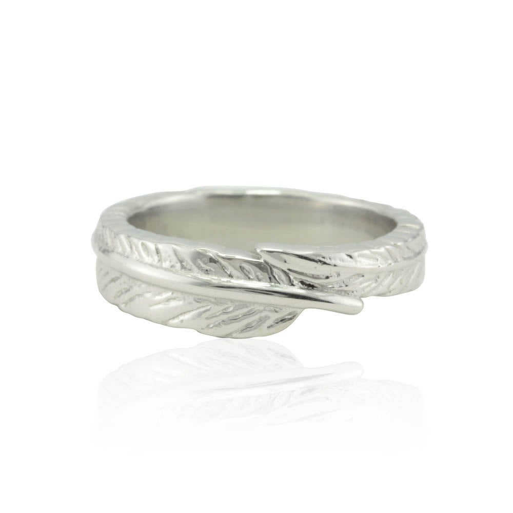 Wedding Band, Handcrafted Platinum Feather Band - Quill Ring With Laser Engraved Penguin Ls3391
