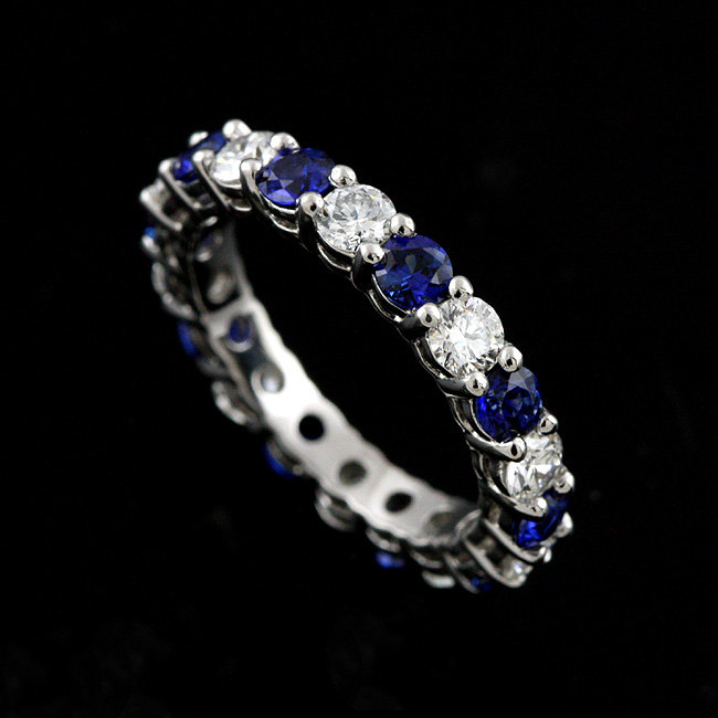 Diamond Sapphire Wedding Ring, Blue Shared Prong Platinum Band, Eternity Gemstone Ring 3.1mm