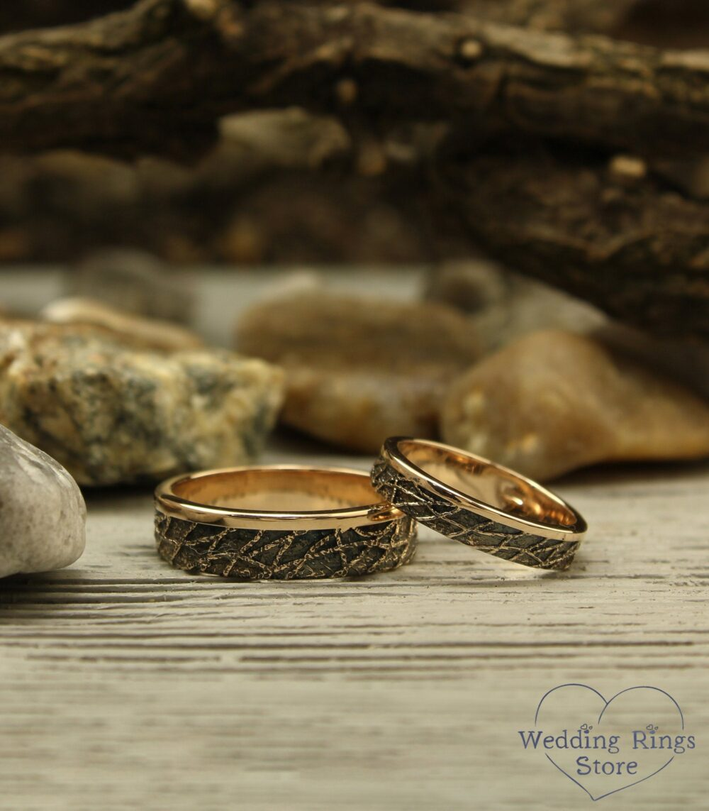 Rose Gold Unusual Wedding Bands Set, Avant Garde Rings, His Her Matching Bands, Chaos Rustic Style 14K Rose