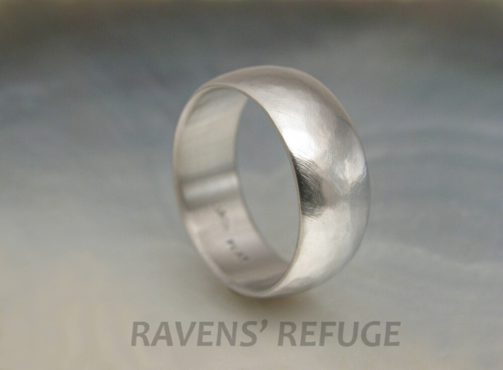 Rustic Platinum Band 8mm Low Dome Textured Wedding Ring