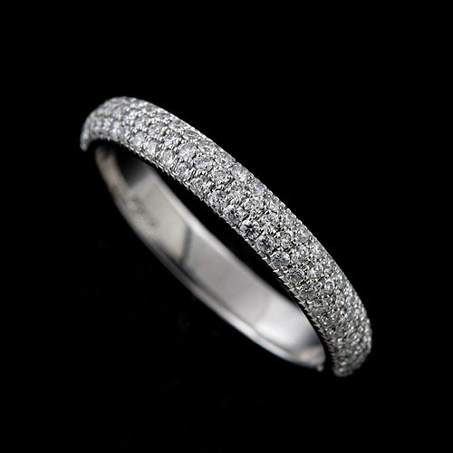Three Row Diamonds Half Way Diamond Wedding Ring, Dome Rounded Conflict Free Platinum Women's Band, Micro Pave Multi Band 3.3mm