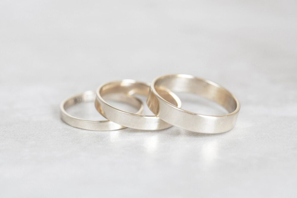 White Gold Band, 10K, 14K, 18K 2mm, 3mm, 4mm, 5mm, 6mm Flat Band You Choose Width & Thickness