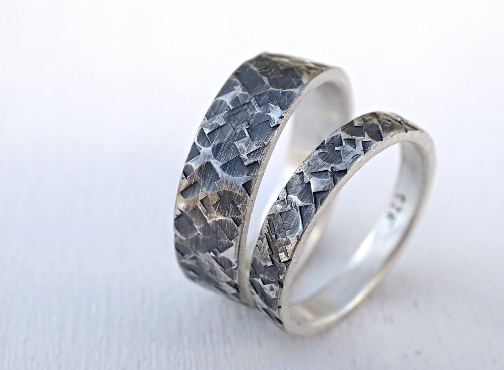 Square Hammered Wedding Band Set, Silver Rings, His Her Ring Couples Matching Bride Groom Bridal Jewelry Set