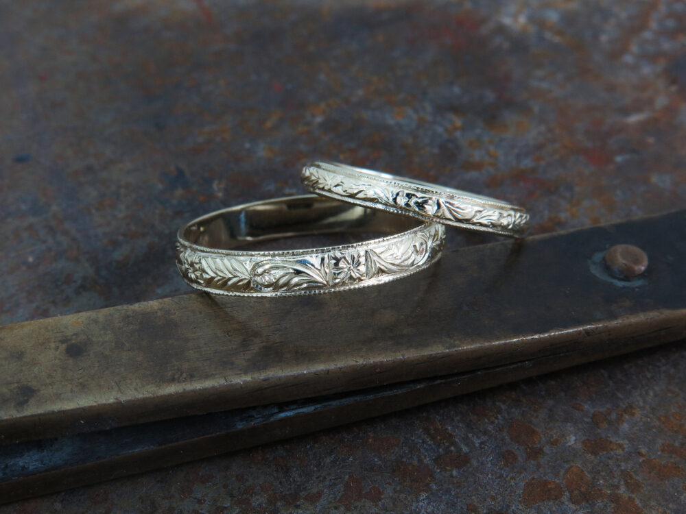 14K Gold Wedding Bands, Couples Rings, Vintage Style Band, His & Hers Rings Set, Floral Band, Pattern