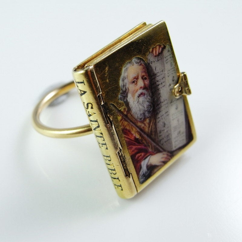 Bible Locket Ring Georgian Gold Book Proverbs 31 Jewelry Miniature Religious Jewellery 18K Victorian French Enamel