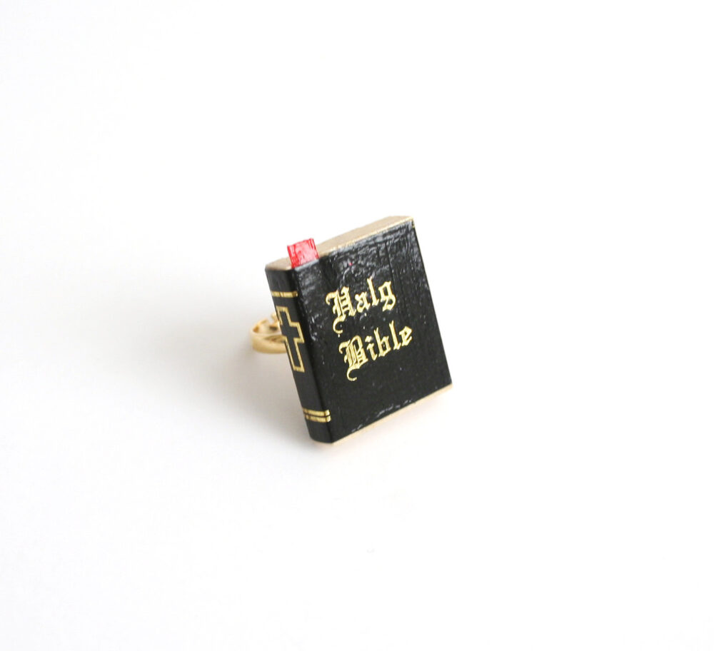 Miniature Holy Bible, Adjustable Ring, Costume Jewelry, Bible Gold Toned, Black, Gothic, Red Ribbon, Gothic Lolita