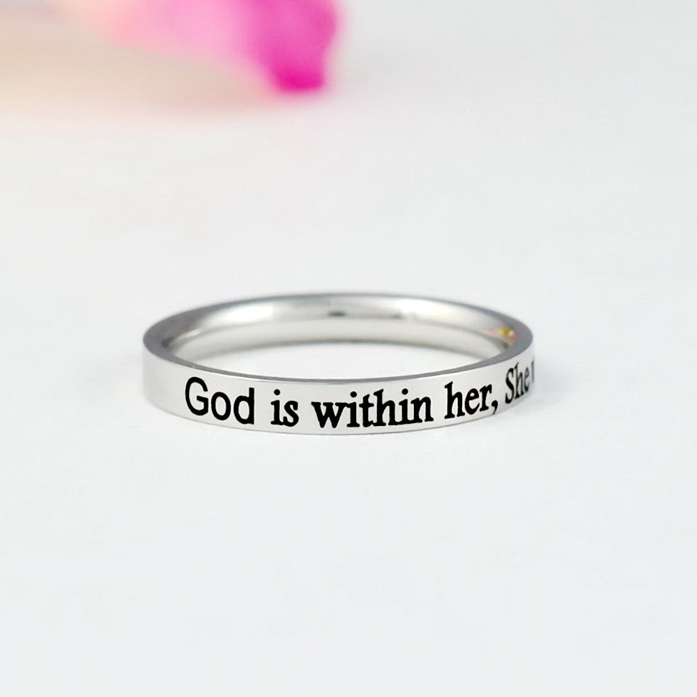 God Is Within Her, She Will Not Fail - Dainty Stainless Steel Stacking Band Ring, Christian Religious Gift, Scripture Bible Verse Psalm 465